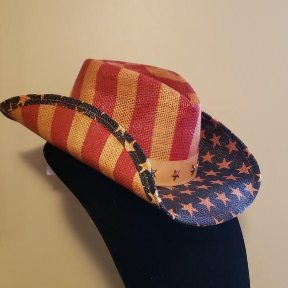 f09cf238d1d29 Mens American Flag design Cowboy Hat
